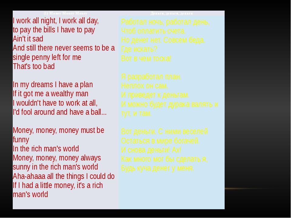 (1) MoneyMoneyMoney Деньги, деньги, деньги I work all night, I work all day,...