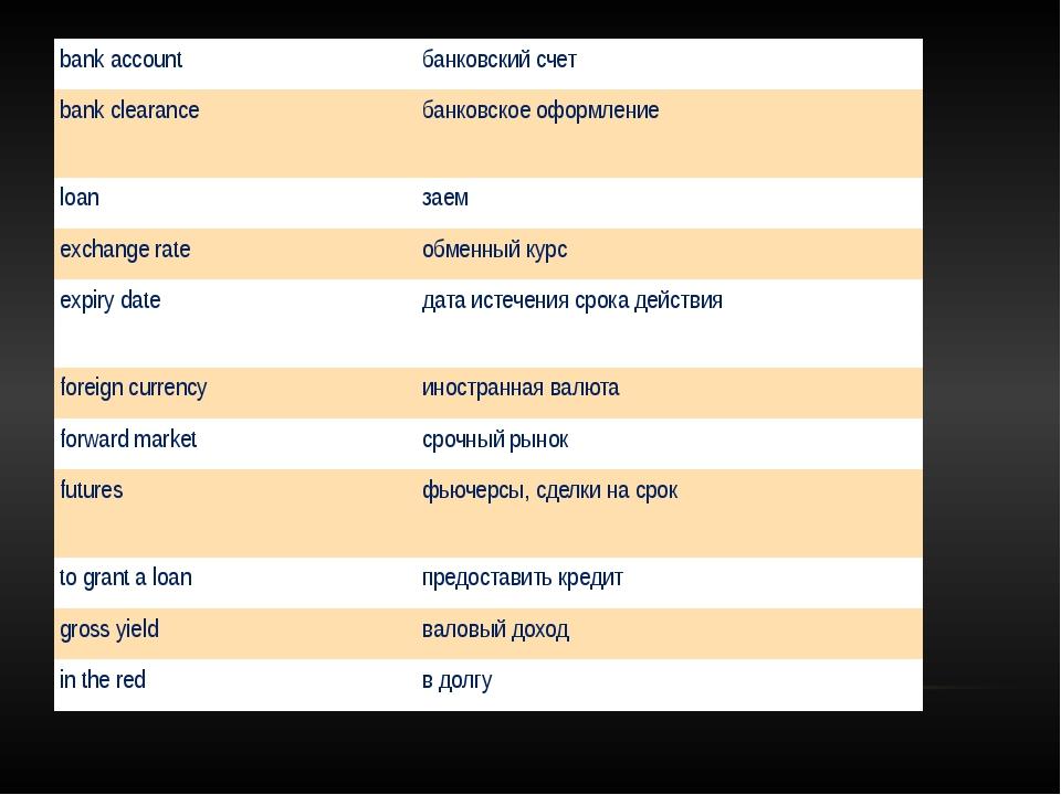 bank account банковский счет bank clearance банковское оформление loan заем...
