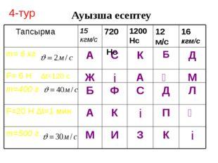 Ауызша есептеу 4-тур і К З И М m=500 г Ә П і К А F=20 Н ∆t=1 мин Л Д С Ф Б m=