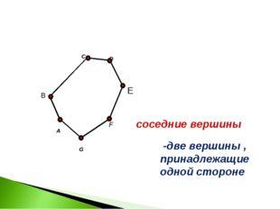 A C F G B соседние вершины D E -две вершины , принадлежащие одной стороне