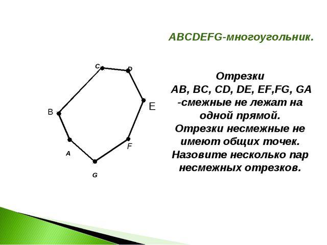 A C F G B ABCDEFG-многоугольник. Отрезки AB, BC, CD, DE, EF,FG, GA -смежные н...