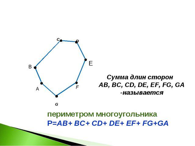C F G B Сумма длин сторон AB, BC, CD, DE, EF, FG, GA -называется D E А периме...