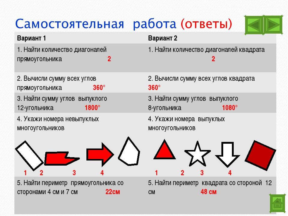 Вариант 1Вариант 2 1. Найти количество диагоналей прямоугольника 21. Найти...
