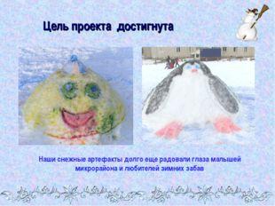 Цель проекта достигнута Наши снежные артефакты долго еще радовали глаза малыш