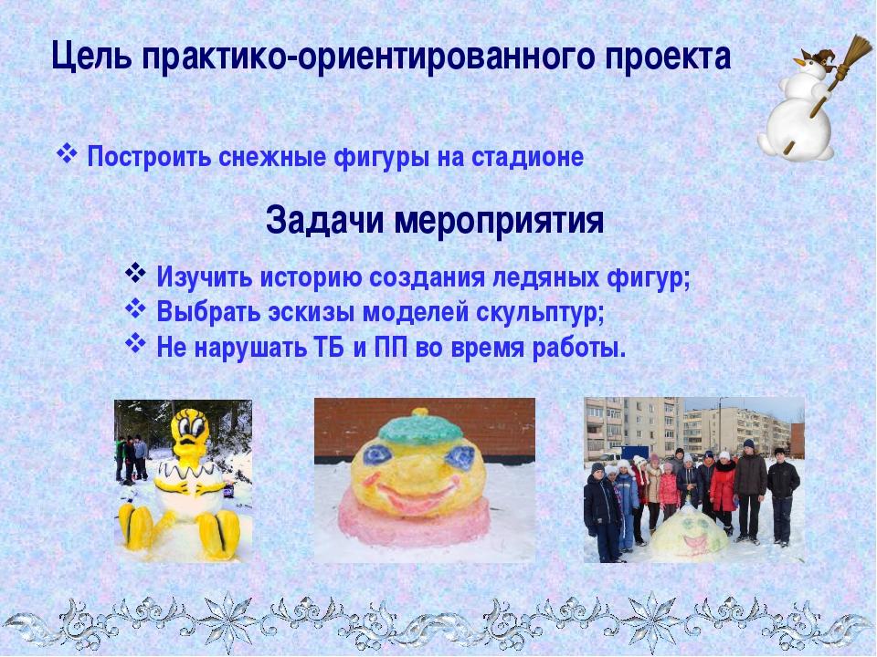 Цель практико-ориентированного проекта Построить снежные фигуры на стадионе З...