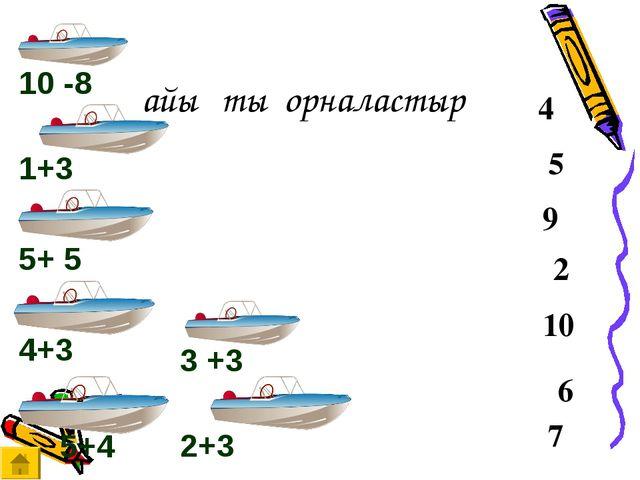 Қайықты орналастыр 2 10 6 7 5 9 4 10 -8 2+3 4+3 5+4 3 +3 1+3 5+ 5
