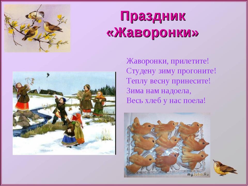 Праздник «Жаворонки» Жаворонки, прилетите! Студену зиму прогоните! Теплу весн...