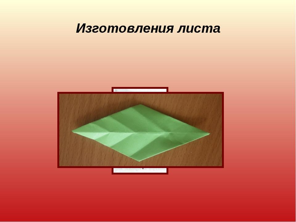 Изготовления листа