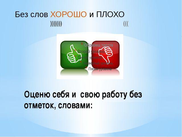 ))))))) ((( Оценю себя и свою работу без отметок, словами: Без слов ХОРОШО и...