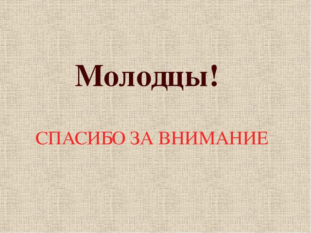 СПАСИБО ЗА ВНИМАНИЕ Молодцы!
