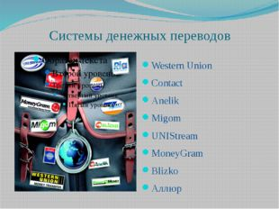 Системы денежных переводов Western Union Contact Anelik Migom UNIStream Money