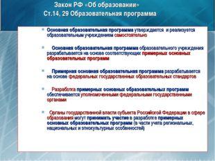 Закон РФ «Об образовании» Ст.14, 29 Образовательная программа Основная образо