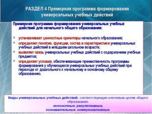 РАЗДЕЛ 4 Примерная программа формирования универсальных учебных действий Прим