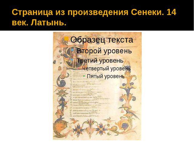 Страница из произведения Сенеки. 14 век. Латынь.