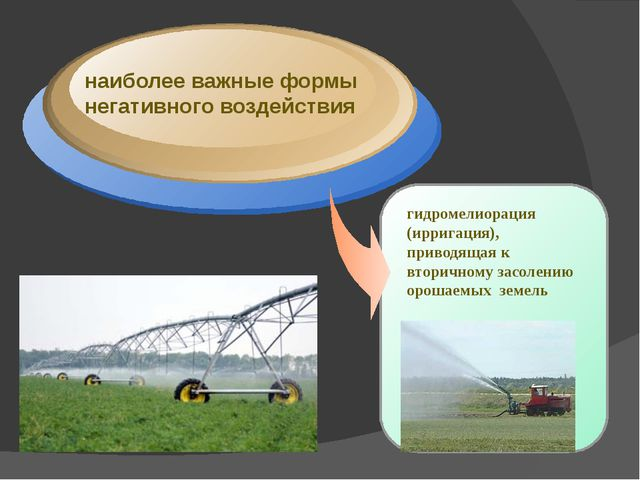 наиболее важные формы негативного воздействия гидромелиорация (ирригация), п...