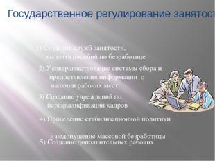 1) Создание служб занятости, выплата пособий по безработице 5) Создание допол