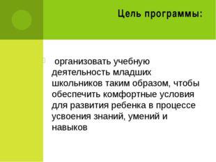 Цель программы: организовать учебную деятельность младших школьников таким об