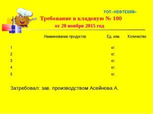 УОП «НЕФТЕХИМ» Требование в кладовую № 100 от 28 ноября 2015 год Наименован