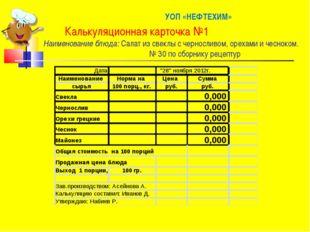 УОП «НЕФТЕХИМ» Калькуляционная карточка №1 Наименование блюда: Салат из свек