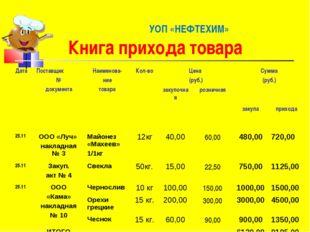 УОП «НЕФТЕХИМ» Книга прихода товара ДатаПоставщик № документаНаименова- ни