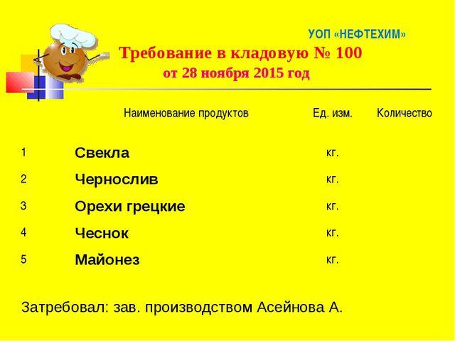 УОП «НЕФТЕХИМ» Требование в кладовую № 100 от 28 ноября 2015 год Наименован...