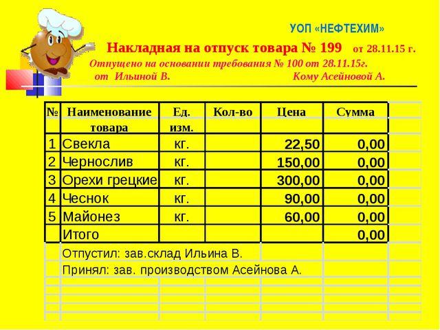 УОП «НЕФТЕХИМ» Накладная на отпуск товара № 199 от 28.11.15 г. Отпущено на о...