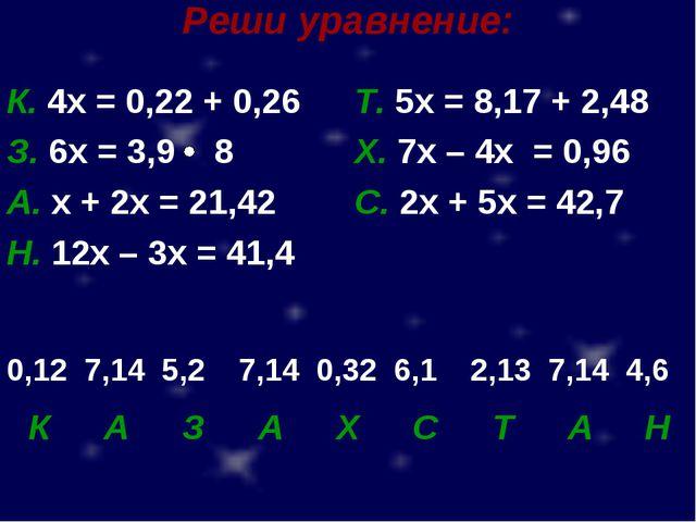 Реши уравнение: К. 4х = 0,22 + 0,26Т. 5х = 8,17 + 2,48 З. 6х = 3,9 8Х. 7х...