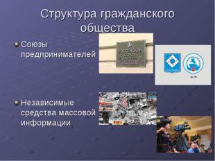 Структура гражданского общества Союзы предпринимателей Независимые средства м