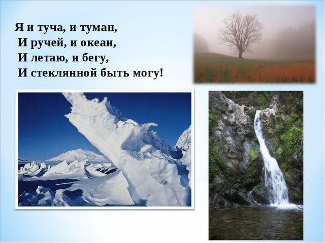 Я и туча, и туман, И ручей, и океан, И летаю, и бегу, И стеклянной быть мо...