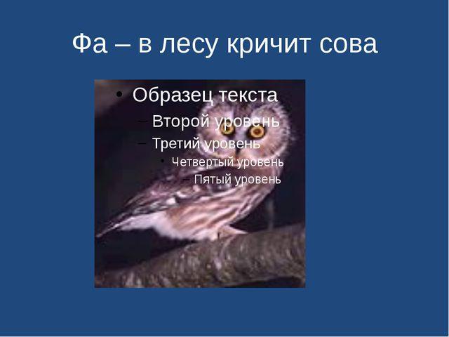 Фа – в лесу кричит сова