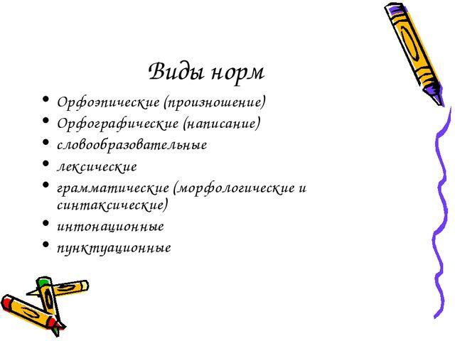 Виды норм Орфоэпические (произношение) Орфографические (написание) словообраз...