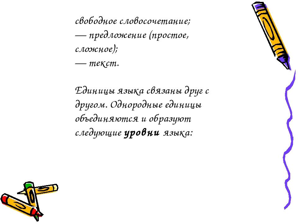 свободное словосочетание; — предложение (простое, сложное); — текст. Единицы...
