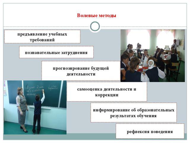 Волевые методы предъявление учебных требований информирование об образовател...
