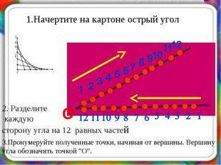 1.Начертите на картоне острый угол 2. Разделите каждую сторону угла на 12 рав