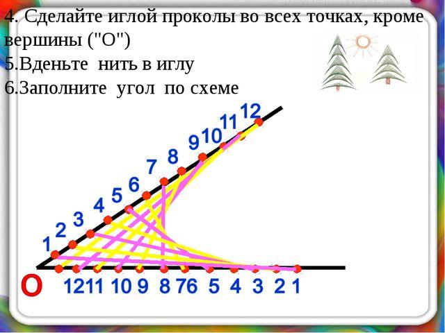 """4. Сделайте иглой проколы во всех точках, кроме вершины (""""О"""") 5.Вденьте нить..."""