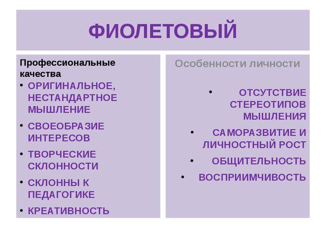 ФИОЛЕТОВЫЙ Профессиональные качества ОРИГИНАЛЬНОЕ, НЕСТАНДАРТНОЕ МЫШЛЕНИЕ СВО...