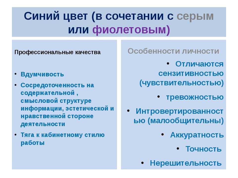 Синий цвет (в сочетании с серым или фиолетовым) Профессиональные качества Вду...