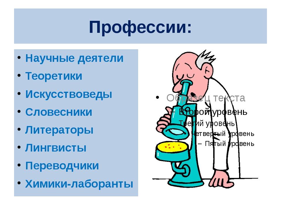 Профессии: Научные деятели Теоретики Искусствоведы Словесники Литераторы Линг...