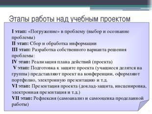Этапы работы над учебным проектом I этап: «Погружение» в проблему (выбор и ос