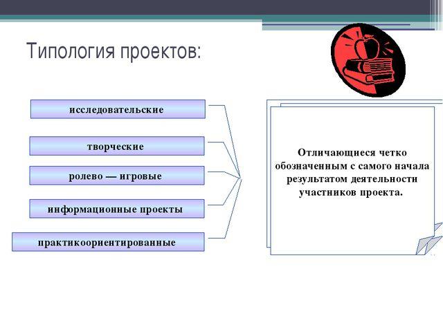 Типология проектов: исследовательские творческие ролево — игровые информацион...