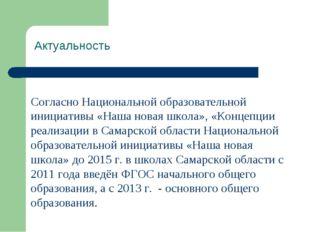 Актуальность Согласно Национальной образовательной инициативы «Наша новая шк