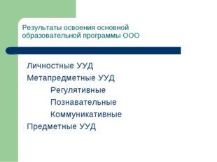 Результаты освоения основной образовательной программы ООО Личностные УУД М
