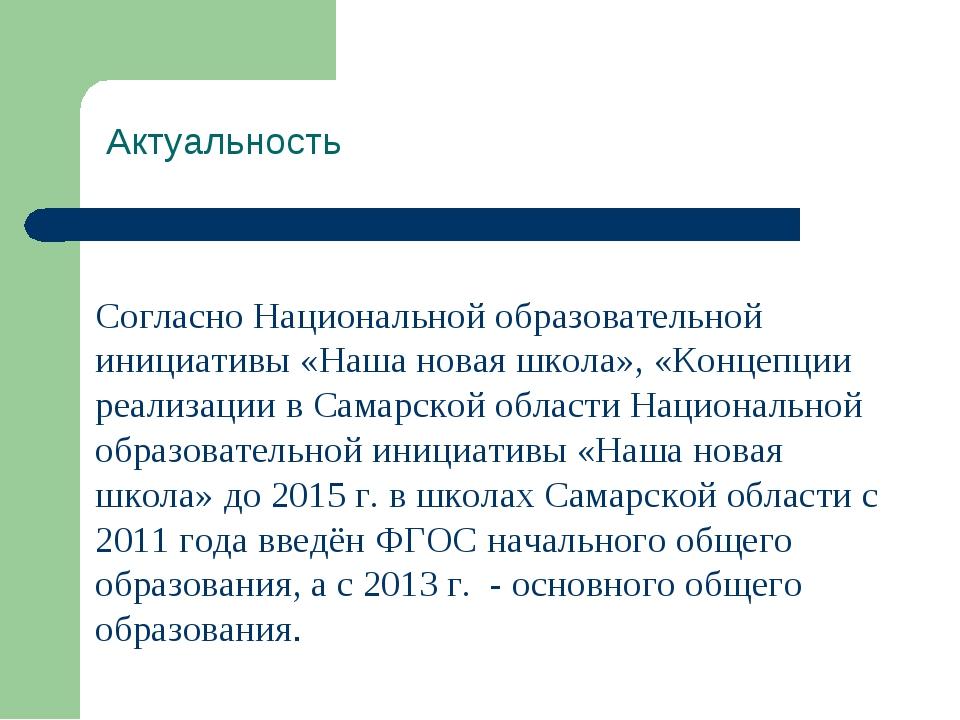 Актуальность Согласно Национальной образовательной инициативы «Наша новая шк...