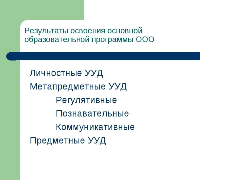 Результаты освоения основной образовательной программы ООО Личностные УУД М...