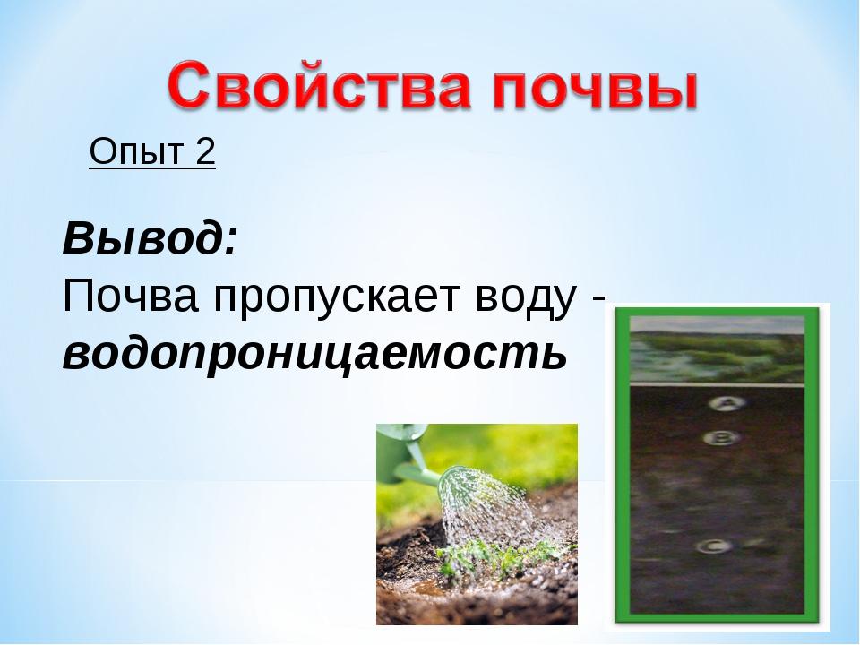 Опыт 2 Вывод: Почва пропускает воду - водопроницаемость