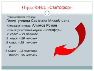Отряд ЮИД: «Светофор» Руководители отряда: Гиниятуллина Светлана Михайловна К