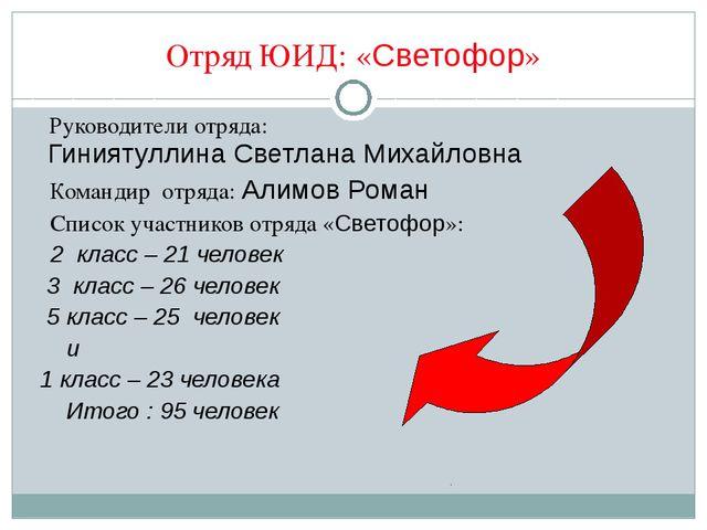 Отряд ЮИД: «Светофор» Руководители отряда: Гиниятуллина Светлана Михайловна К...