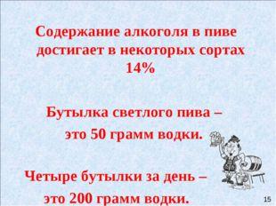 Содержание алкоголя в пиве достигает в некоторых сортах 14% Бутылка светлого
