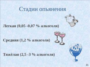 Стадии опьянения Легкая (0,05 -0,07 % алкоголя) Средняя (1,2 % алкоголя) Тя
