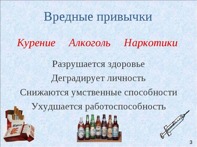 Вредные привычки Курение Алкоголь Наркотики Разрушается здоровье Деградирует...